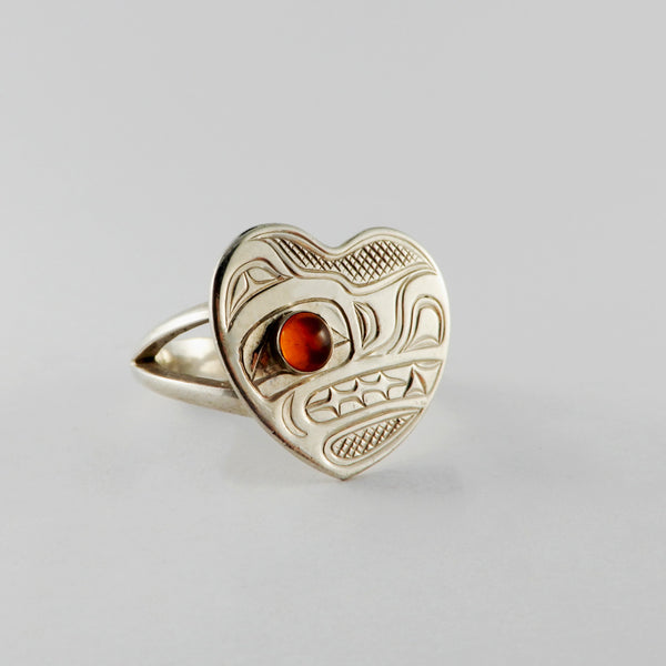 Silver and Amber Heart Shaped Wolf Ring
