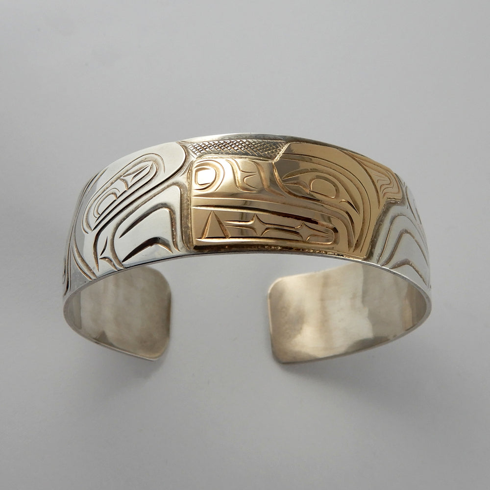 3/4 Inch Gold and Silver Wolf Bracelet by Rick Johnson