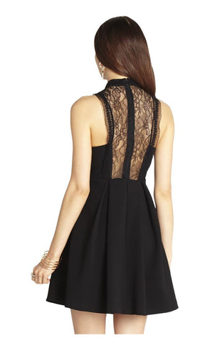 Mock-Neck Lace-Front Dress