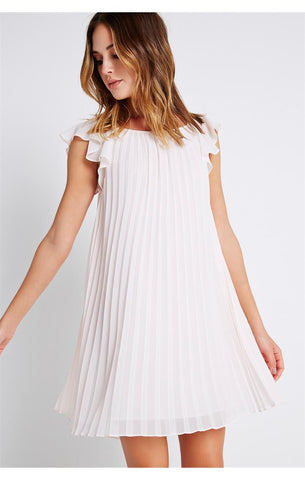 Flutter Sleeve Pleated Dress