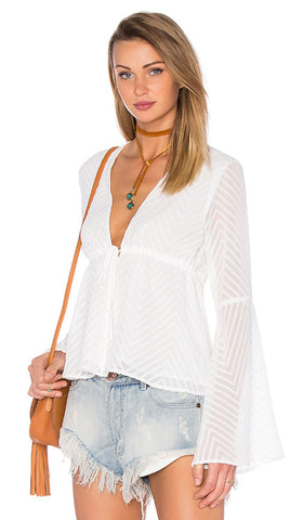 Woven Long Sleeve V Neck Blouse