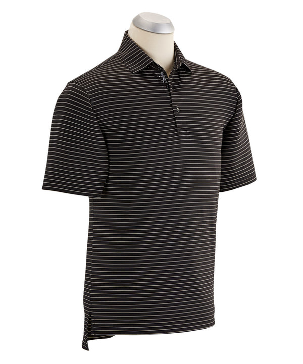 BOBBY JONES XH2O LINE STRIPE SHORT SLEEVE POLO SHIRT (BLACK) - Miami Golf