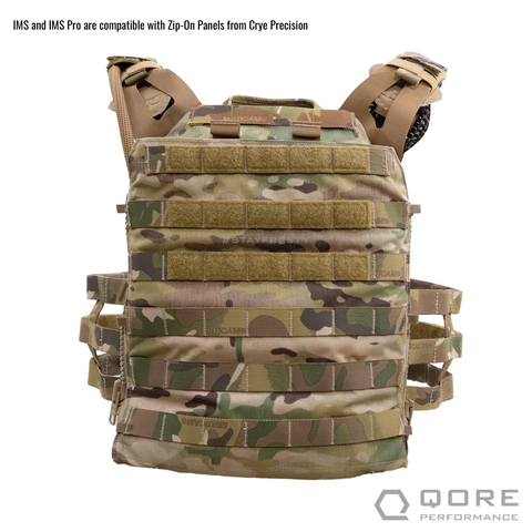 Crye Precision Zip On Back Panels are compatible with the IMS Combo for the IcePlate Curve by Qore Performance for plate carrier hydration