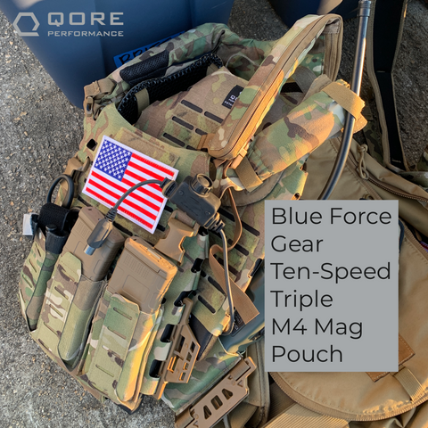 use blue force gear ten-speed triple m4 magazine pouch with IcePlate EXO