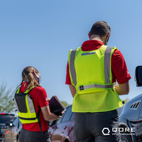 hivis cooling vest with hydration class 2 for QSR drive thru chick fil a dutch bros coffee