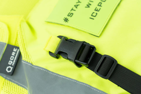 IceVest HiVis Class 2 SwiftClip install for IceCase iPad Cooling Case