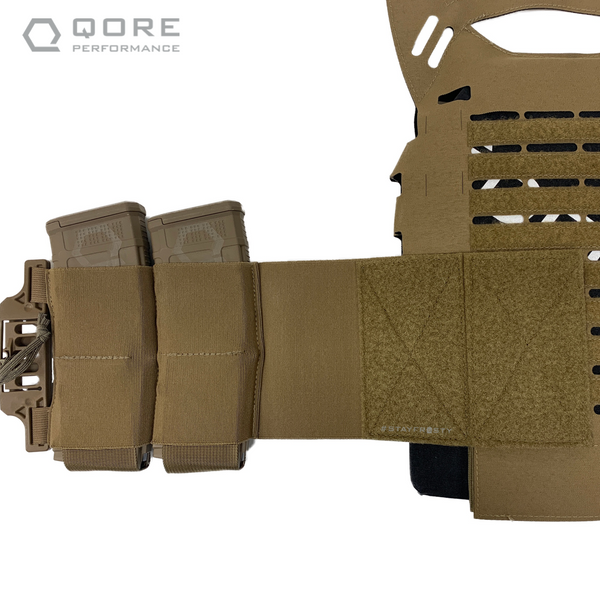 IcePlate EXO (ICE) Elastic Cummerbund comes with integrated mag pouches for 556 PMAGS, SOARescue MedMags, radios, etc.
