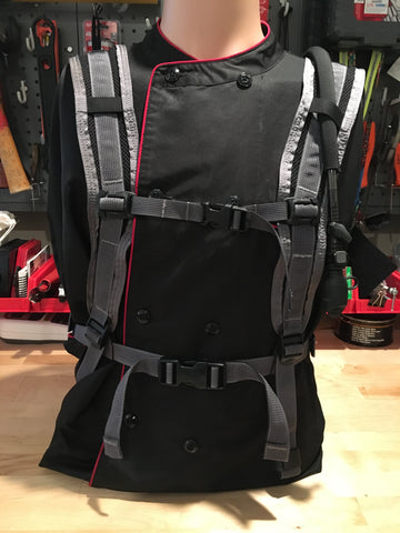 IcePlate Comfort Harness paired with IcePlate Safety Vest Sleeve (front view)