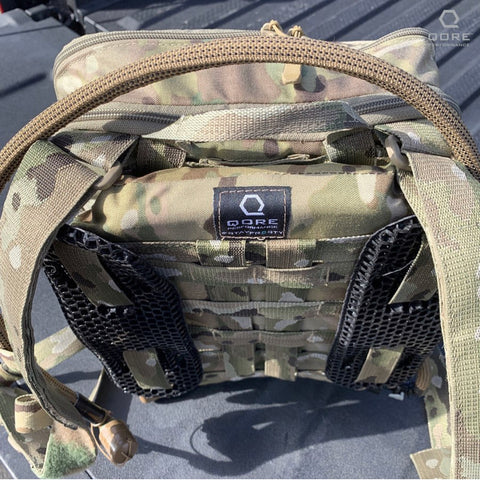 Above: IMS mounted to HSP FlatPack Plus for backpack hydration with IceVents Classic for stand-off backpack ventilation