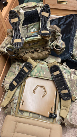 US Army infantry use IceVents Aero ventilated plate carrier shoulder pads, IceVents Classic ruck shoulder pads, and IcePlate Curve plate carrier hydration, ruck hydration