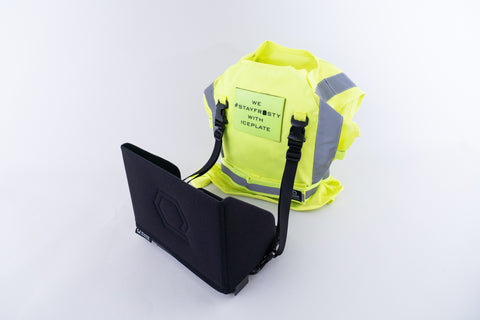 IceCase iPad Cooling Case connected to IceVest HiVis Class 2 via SwiftClip