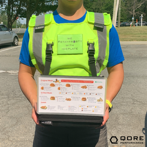 IceVest HiVis Cooling/Heating/Hydration Safety Vest Class 2 carries IceCase iPad Cooling/Heating Case by Qore Performance