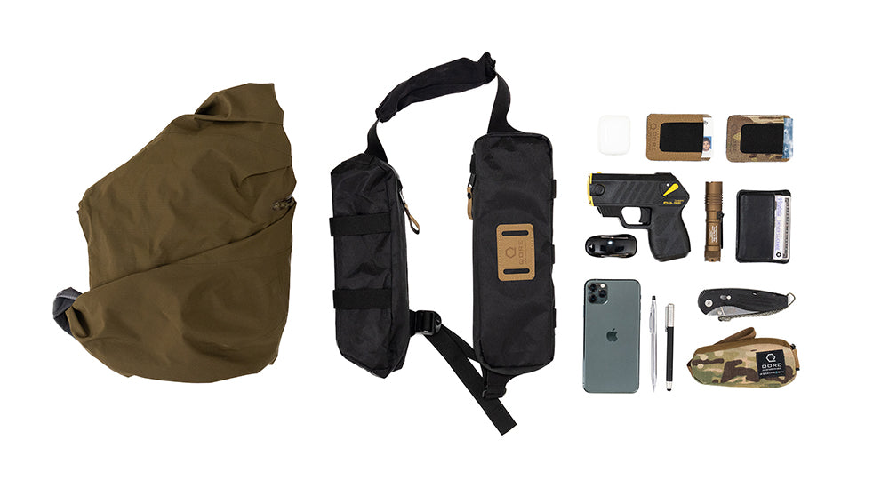 EDC Travel Sling by Qore Performance for walking, hiking, travel, every day carry