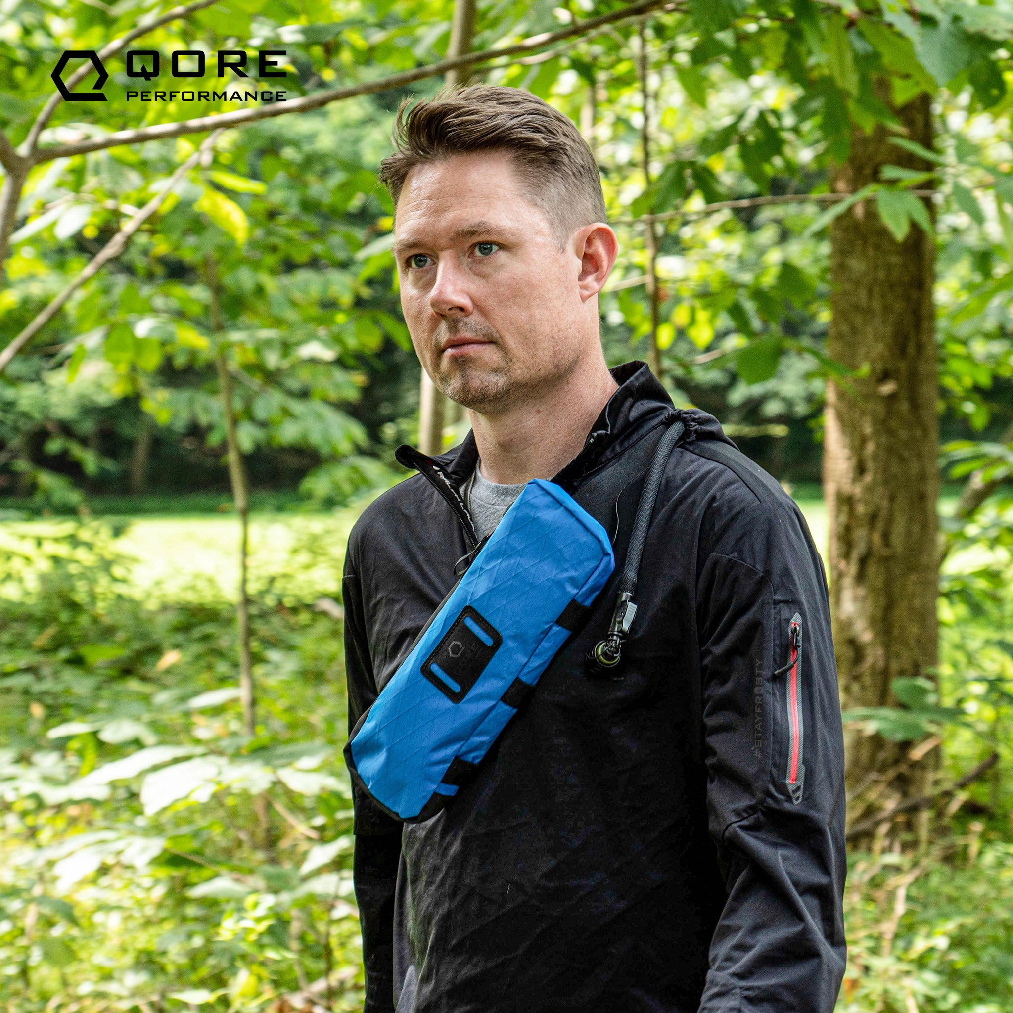 EDC Travel Sling by Qore Performance for walking, hiking, travel, every day carry, bike riding