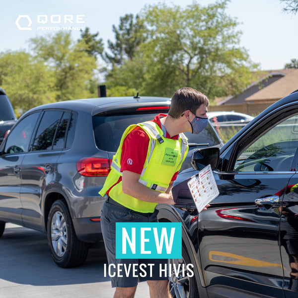 Class 2 cooling hivis safety vest for QSR drive thru used by Dutch Bros Coffee, Chick-fil-A