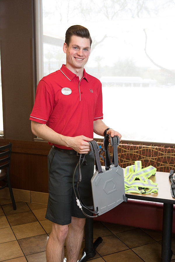 Nathan readies his IcePlate and Harness (sold separately) for the Drive Thru (Chick-fil-A Scottsdale 101)