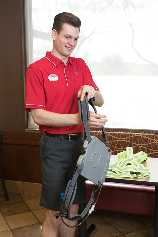The Harness allows IcePlate to be worn like a cooling backpack (Chick-fil-A Scottsdale 101)