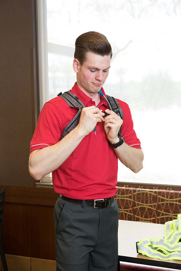 The IcePlate Harness includes a Sternum Strap for all-day comfort (Chick-fil-A Scottsdale 101)