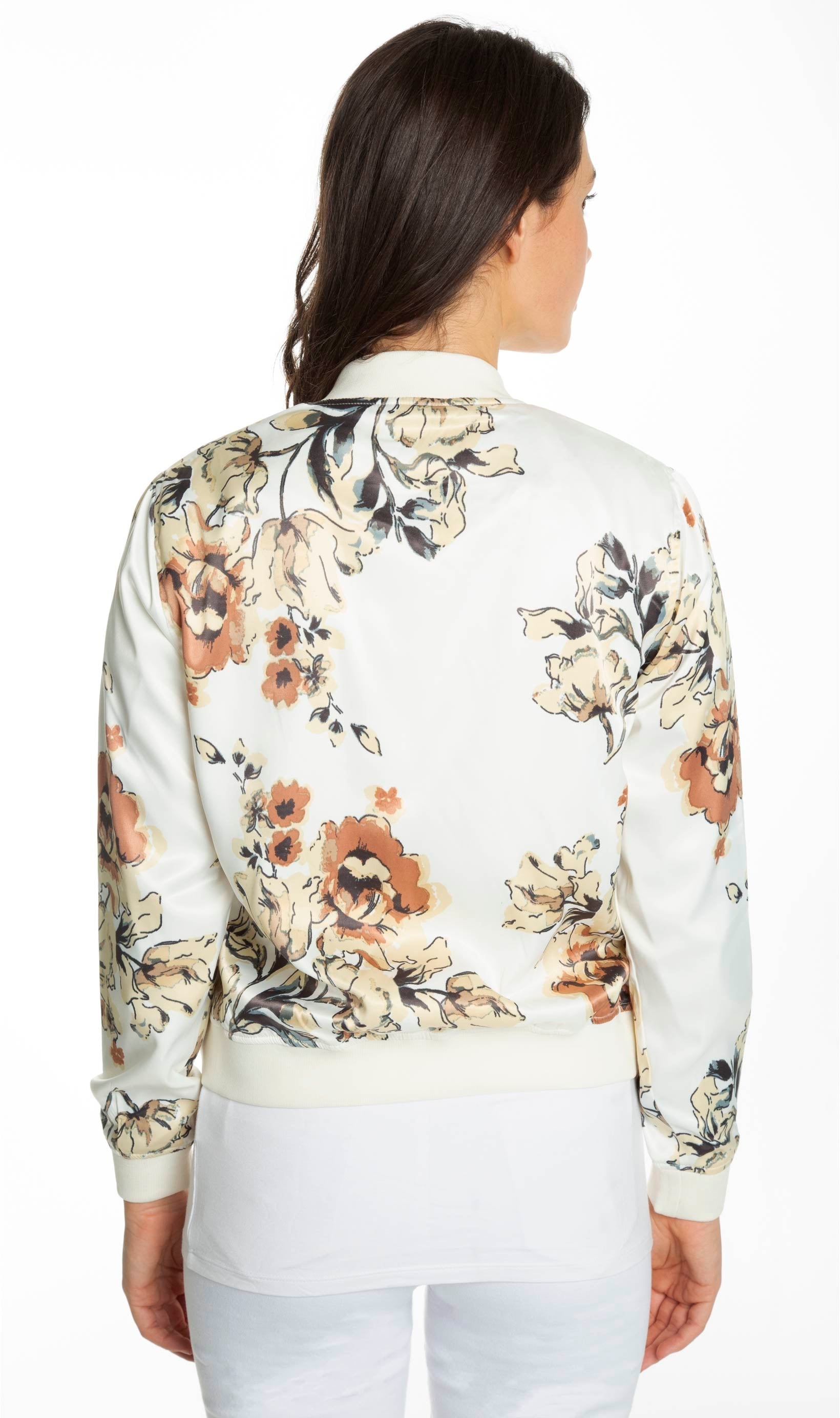 Printed satin bomber jacket