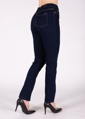 Sarah High Rise Straight Leg in Solid Blue