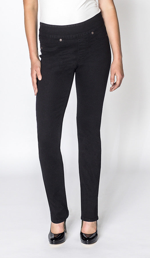 Sarah High Rise Pull-On Skinny in Jet Black.
