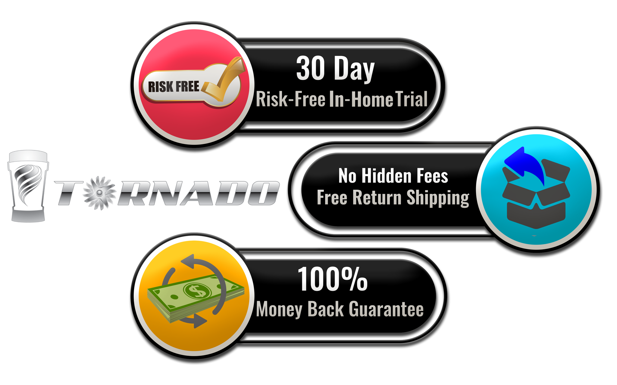 30 Day-Risk Free In-Home Trial - 100% Money Back Guarantee Tornado High-Performance Blender