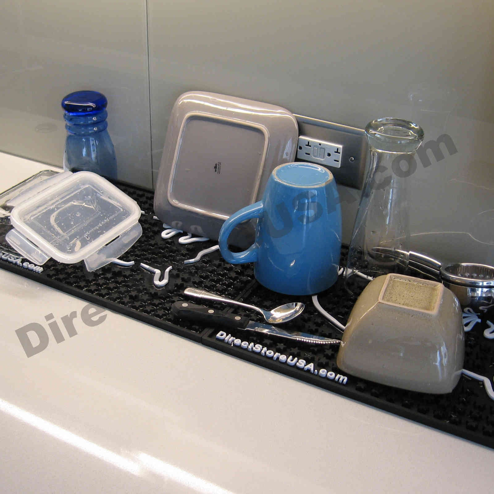 Professional-Grade Rubber Kitchen Dish Drying Mat, Bar Mat, Glass Drainer Dryer Rack, Service Mat - DirectStoreUSA.com LLC