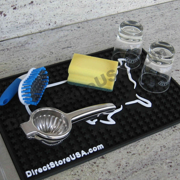 Professional-Grade Rubber Kitchen Dish Drying Mat, Bar Mat, Glass Drainer Dryer Rack, Service Mat - TornadoBlender.com / DirectStoreUSA.com