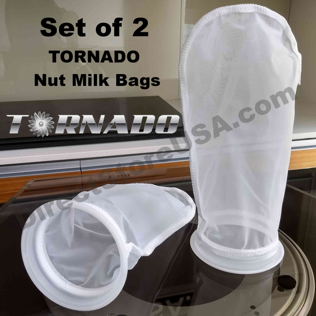 Set of 2 TORNADO Nut Milk Bags (200 micron) - the Next Evolution of Strainer Bags (2 PACK) - TornadoBlender.com / DirectStoreUSA.com