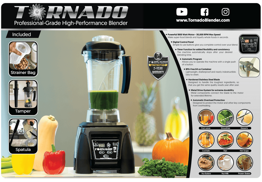5-Year EXTENDED Full Warranty - TORNADO High-Performance Blender