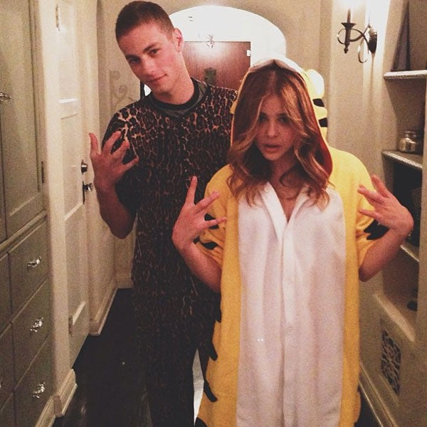 Chloe Moretz in a fierce tiger onesie
