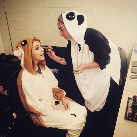 Lindsey Stirling in a flying squirrel onesie