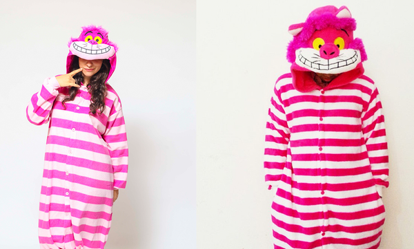 Cheshire Cat Kigurumi Onesie Costume Pajamas vs Fake