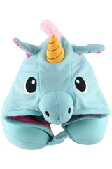 Blue Unicorn Kigurumi Travel Neck Pillow Hoodie Pillow