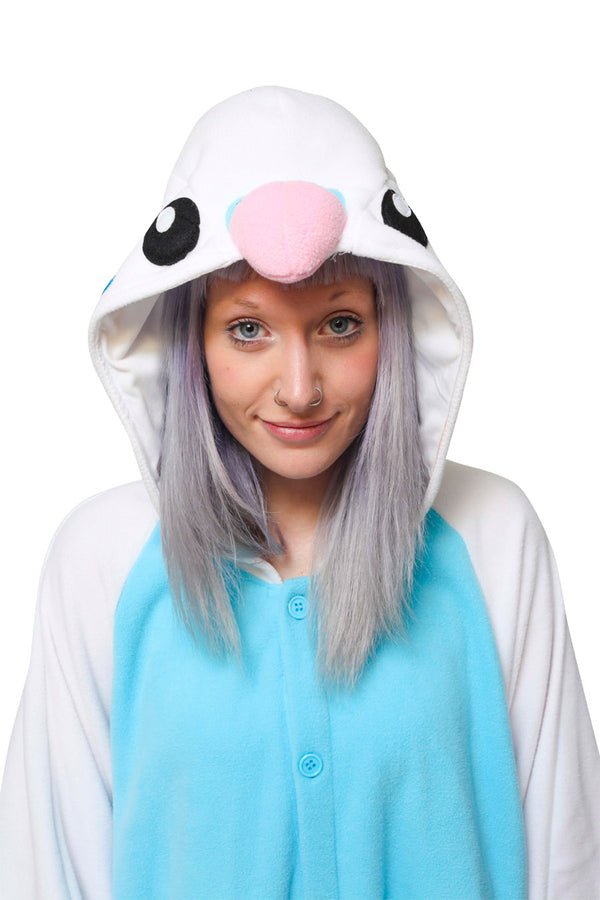 Blue Budgie Animal Kigurumi Adult Onesie Costume Pajamas Hood