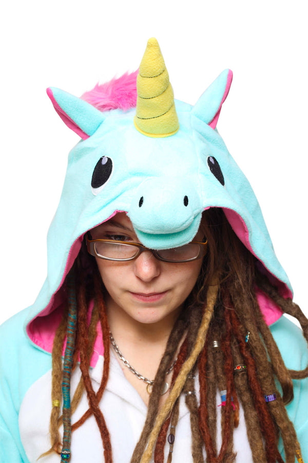 Blue Unicorn Animal Kigurumi Adult Onesie Costume Pajamas Hood