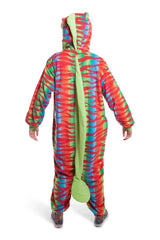 Chameleon Animal Kigurumi Adult Onesie Costume Pajamas Red Green Back