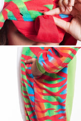 Chameleon Animal Kigurumi Adult Onesie Costume Pajamas Red Green Detail