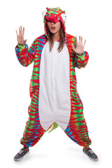 Chameleon Animal Kigurumi Adult Onesie Costume Pajamas Red Green Main Seconary