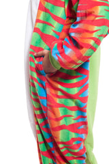 Chameleon Animal Kigurumi Adult Onesie Costume Pajamas Red Green Pockets