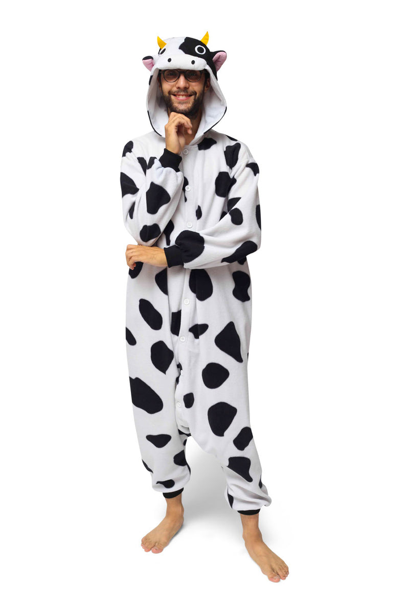 Cow Animal Kigurumi Adult Onesie Costume Pajamas White Black Front Main Seconary