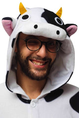 Cow Animal Kigurumi Adult Onesie Costume Pajamas White Black Hood