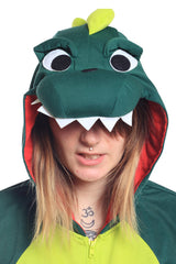 Dinosaur Short-Sleeved Animal Kigurumi Adult Onesie Costume Pajamas Green Hood