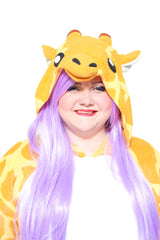 Giraffe X-Tall Animal Kigurumi Adult Onesie Costume Pajamas Yellow Hood