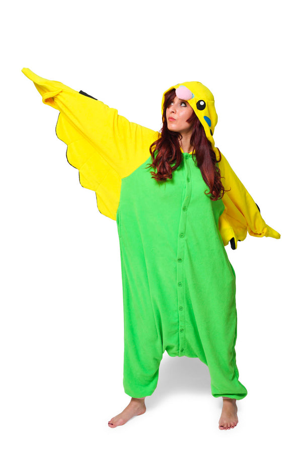 Green Budgie Animal Kigurumi Adult Onesie Costume Pajamas Main