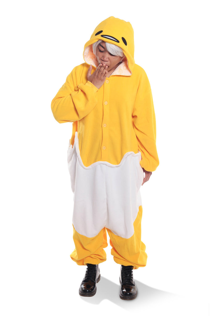Gudetama Character Kigurumi Adult Onesie Costume Pajamas Yellow Egg White Front Tired Main Seconary