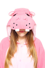 Hippo Animal Kigurumi Adult Onesie Costume Pajamas Hood