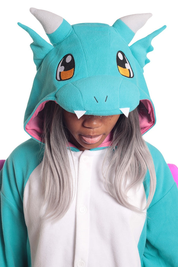 Huff the Teal Dragon Animal Kigurumi Adult Onesie Costume Pajamas Hood