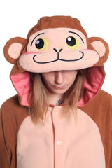 Japanese Monkey Animal Kigurumi Adult Onesie Costume Pajamas Hood
