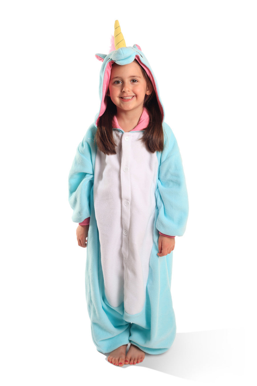 80944dde1b37 Kids Blue Unicorn Kigurumi Onesie Costume Pajamas